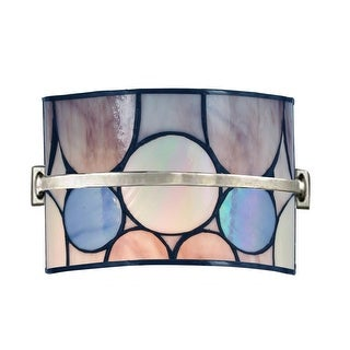"""9"""" Brushed Nickel, Pink, and Purple Meridian Hand Crafted Glass Wall Sconce"""