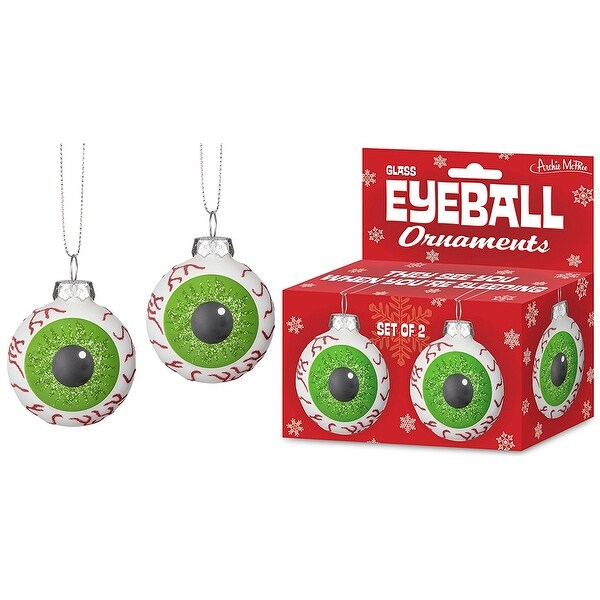 Eyeball Glass Holiday Ornaments, Set of 2