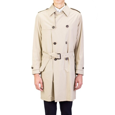 Prada Men's Lightweight Canvas Viscose Trench Coat Jacket Khaki