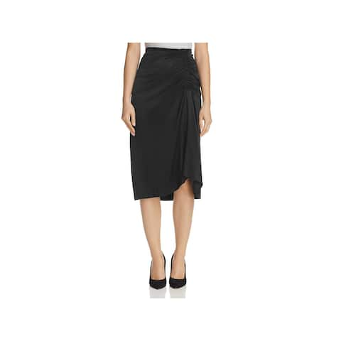 Theory Womens Pencil Skirt Silk Ruched