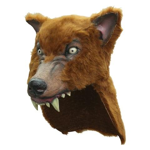 Brown Wolf Halloween Helmet - Standard - One Size