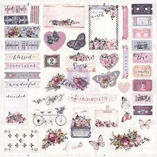 Lavender Ephemera Cardstock Die-Cuts 44/Pkg-W/Rose Gold Foil