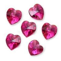 Swarovski Crystal, 6228 Heart Pendants 10mm, 6 Pieces, Fuchsia AB