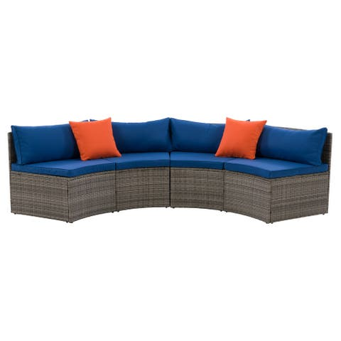 CorLiving Grey Parksville Patio Sectional Set with Blue Cushions 2pc