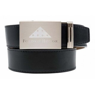 Nexbelt Folds of Honor Nickel Reverse Etch Buckle with Smooth Black Strap Belt