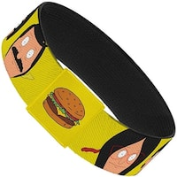 Belcher Family Faces Close Up Yellow + Hamburger Yellow Elastic Bracelet