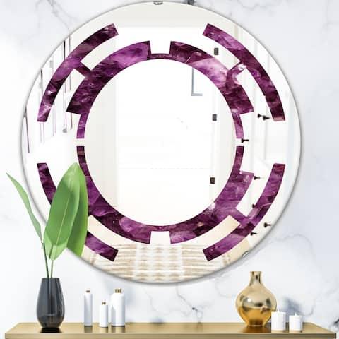 Designart 'Purple Gems' Modern Round or Oval Wall Mirror - Space