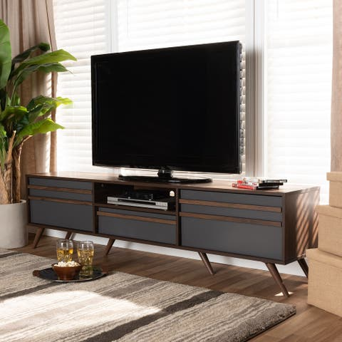 Naoki Modern and Contemporary TV Stand with Drop-Down Compartments