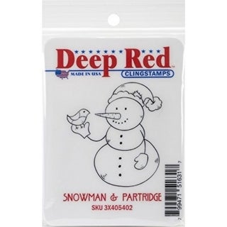Deep Red Stamps Snowman and Partridge Rubber Cling Stamp - 2 x 2