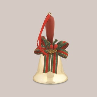 5 Gold Caroling Hand Bell with Wooden Handle and Christmas Bow