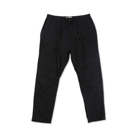 LRG Mens Black Size 32 Mid-Rise Drawstring Stretch Seersucker Pants