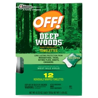 Off 54996 Deep Woods Insect Repellent Towel, Pack 12