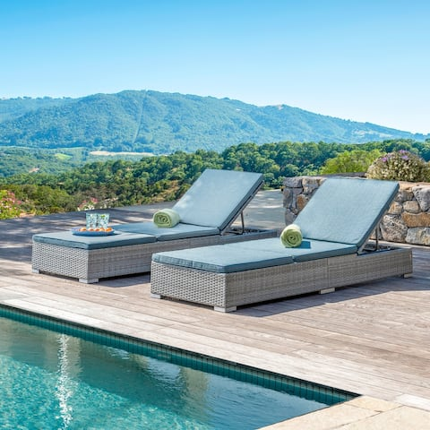 Corvus Outdoor Wicker Chaise Lounges with Cushions (Set of 2)