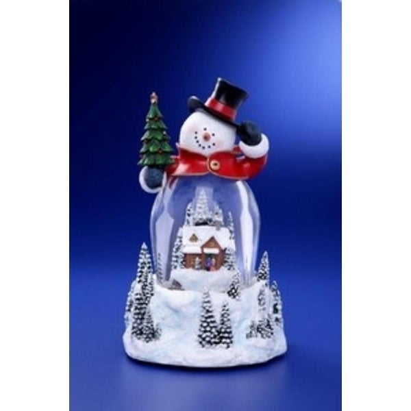"""Pack of 2 Icy Crystal Illuminated Musical Christmas Snowman Snow Globe 9"""""""