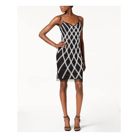 ADRIANNA PAPELL Ivory Spaghetti Strap Above The Knee Dress 4