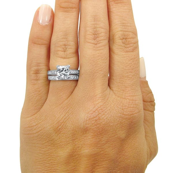 Details about  /1.50Ct Round Cut Moissanite Wedding Band Engagement Ring Set 14K White Gold