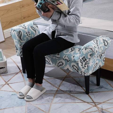 HomCom Small Linen Upholstered Ottoman
