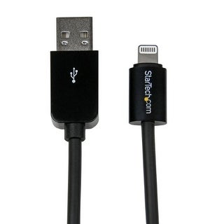 StarTech USBLT30CMBB StarTech.com 0.3m 8-Pin Lightning Charge and Sync Cable Connector to USB Cable for Apple iPhone/iPod/iPad -