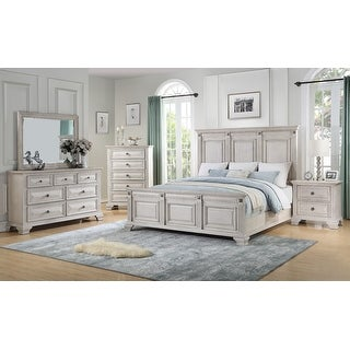 Link to Renova Distressed Parchment Wood Bedroom Set with Panel Bed, Dresser, Mirror, Nightstand, Chest Similar Items in Bedroom Furniture