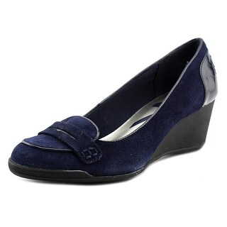 Anne Klein Sport Tagalong Open Toe Suede Wedge Heel
