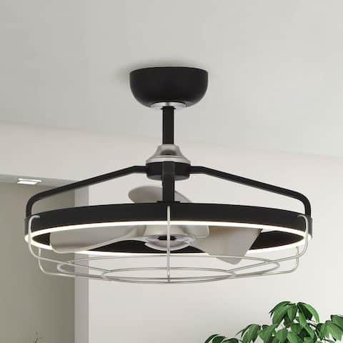 27.5-inch Black Reversible 3-Blade LED Ceiling Fan with Cage