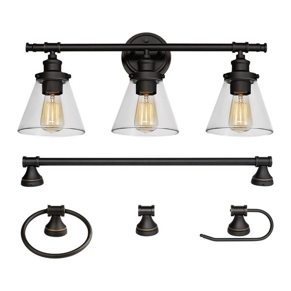 Globe Electric 50192 Parker All In One Bathroom Vanity Light With Towel Bar,
