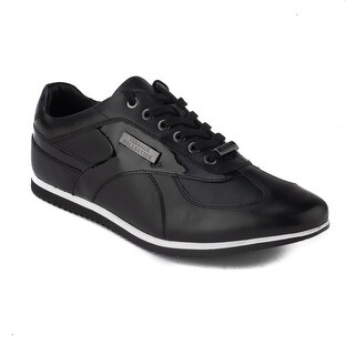Versace Collection Men's Leather Low Top Sneaker Shoes Black