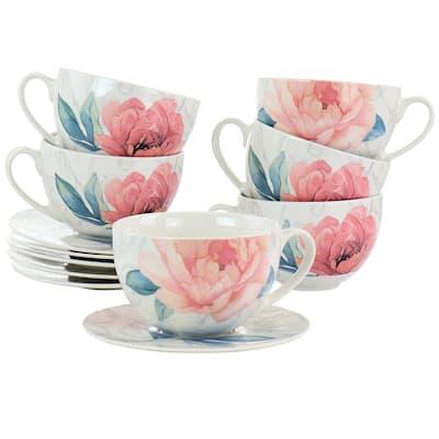 Martha Stewart 12 Piece Ceramic Flora 18oz Cup and Saucer Set in White
