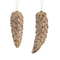 """Set of 12 Rustic Brown and Gold Christmas Pine Cone Ornaments 9"""""""
