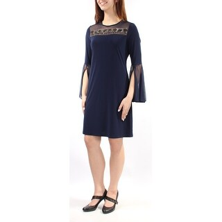 Womens Navy Bell Sleeve Above The Knee Shift Casual Dress Size: M