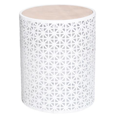 "Natalia 17"" Metal Geometric Outdoor Accent Table"