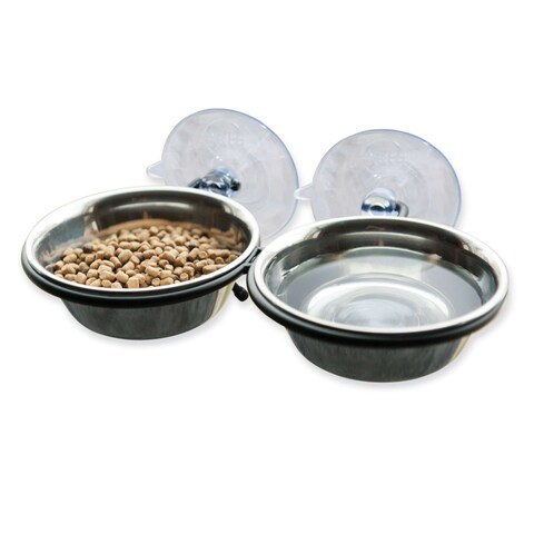 """K&H Pet Products EZ Mount Up and Away Kitty Double Diner Stainless Steel/Black 10"""" x 6.5"""" x 2"""""""