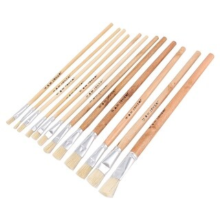 12 Polished Long Handle Painting Brush Drawing Tool Art