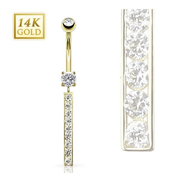 "14 Karat Solid Yellow Gold Multi CZ Bar Dangle Navel Belly Button Ring - 14GA 3/8"" Long"