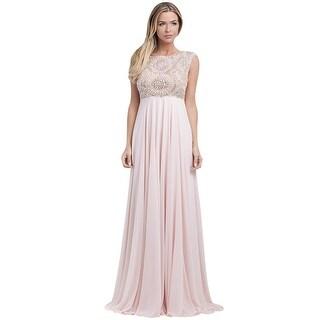 Mac Duggal Blush Stone & Mesh Sleeveless Prom Evening Gown Dress - 0