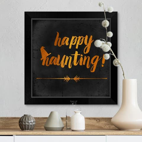 """Happy Haunting"" Black Framed Print"