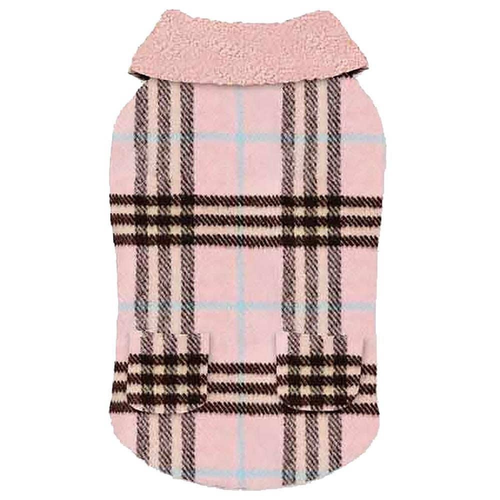 Zack and Zoey Elements Cuddle Plaid Dog Coat - Pink (Pink - Small)