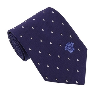 Versace Blue-Silver Woven Triangle Neat Tie