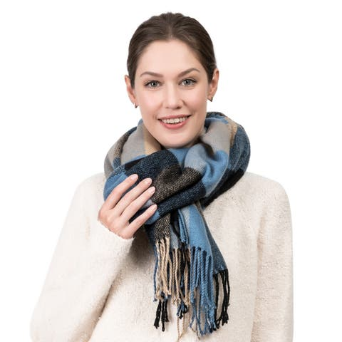 "Glitzhome 71""L Gray Blue and Beige Plaid Scarf with Tassels"