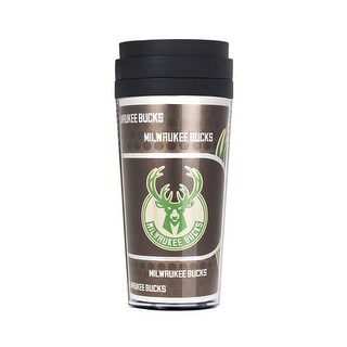 Milwaukee Bucks 16oz Acrylic Travel Tumbler with Metallic Insert