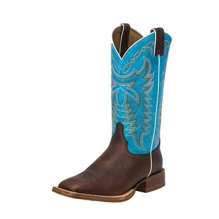 Justin Western Boots Mens Stitched Leather Outsole Whiskey Blue 2853