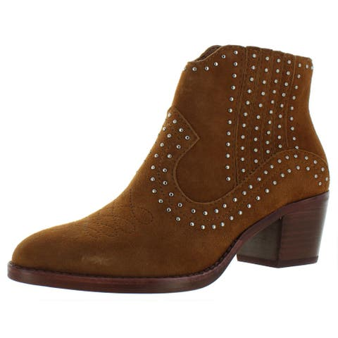 Dolce Vita Womens Dexter Booties Studded Laceless - Brown Suede