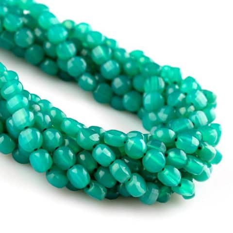 Evaluesell Green Onyx Natural Faceted Coin Beads