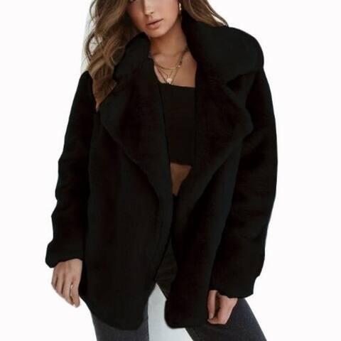 Women Fleece Coats Warm Outwear Jacket Plus Size 3Xl