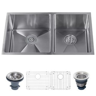 """Miseno MSS3219SR6040 32"""" Undermount Double Basin Stainless Steel Kitchen Sink with 60/40 Split - Drain Assemblies and Fitted"""