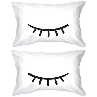 Cute Pillowcases 300-Thread-Count Standard Size 21 x 30 - Sleeping Eyelashes