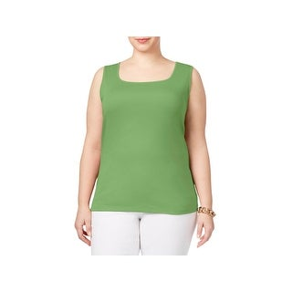 Karen Scott Womens Plus Tank Top Sleeveless Square Neck (3 options available)