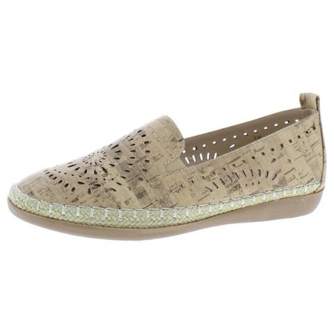 Beacon Womens Trudy Espadrilles Faux Leather Slip On - Cork