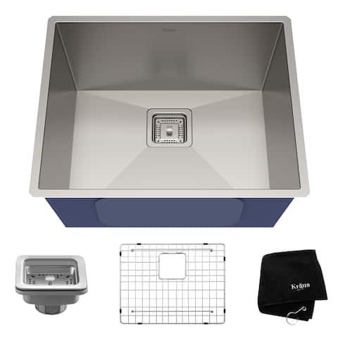 KRAUS Pax Stainless Steel 22 1/2 inch 1-Bowl Undermount Kitchen Sink