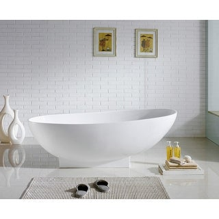 Aquamoon Lisboa 70 7/8-inch freestanding white acrylic soaking bathtub